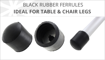 BLACK RUBBER CHAIR LEG FERRULES
